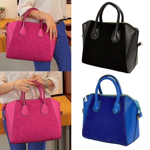 New Fashion Women's Nubbuck Synthetic Leather Smile Hand Bag Cross Shoulder Bag - Oh Yours Fashion - 1