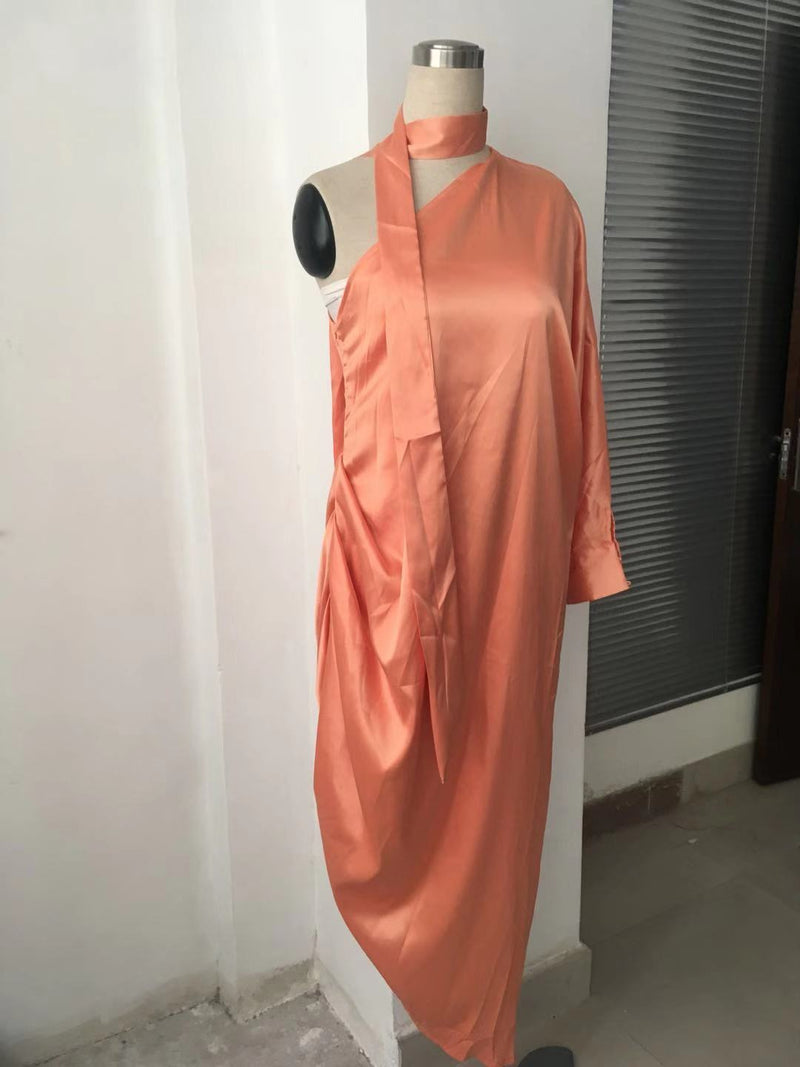 Bright Color One Shoulder Women Loose Irregular Long Dress