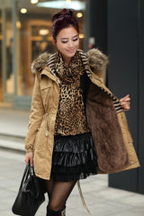 Faux Fur Collar Long Winter Hooded Coat - Oh Yours Fashion - 9