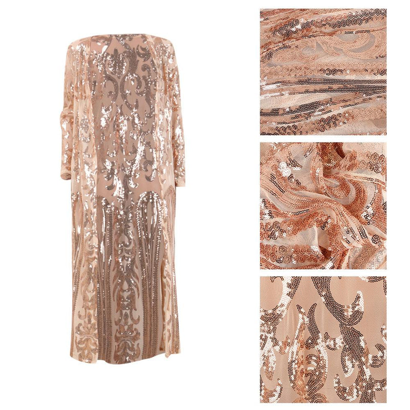 Women Fashion Sequin Coat Female Stylish Long Sleeve Autumn See-Through Outwear Sexy High Quality Ladies Mesh Long Cardigan