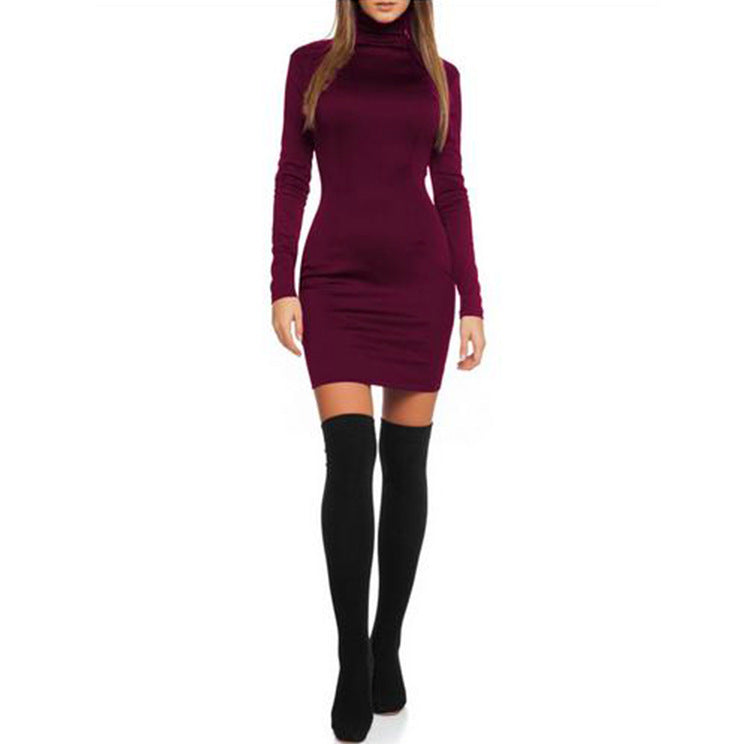 High Neck Long Sleeves Short Bodycon Dress