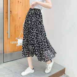 High Waist Floral Print Loose Tee-length Mermaid Skirt