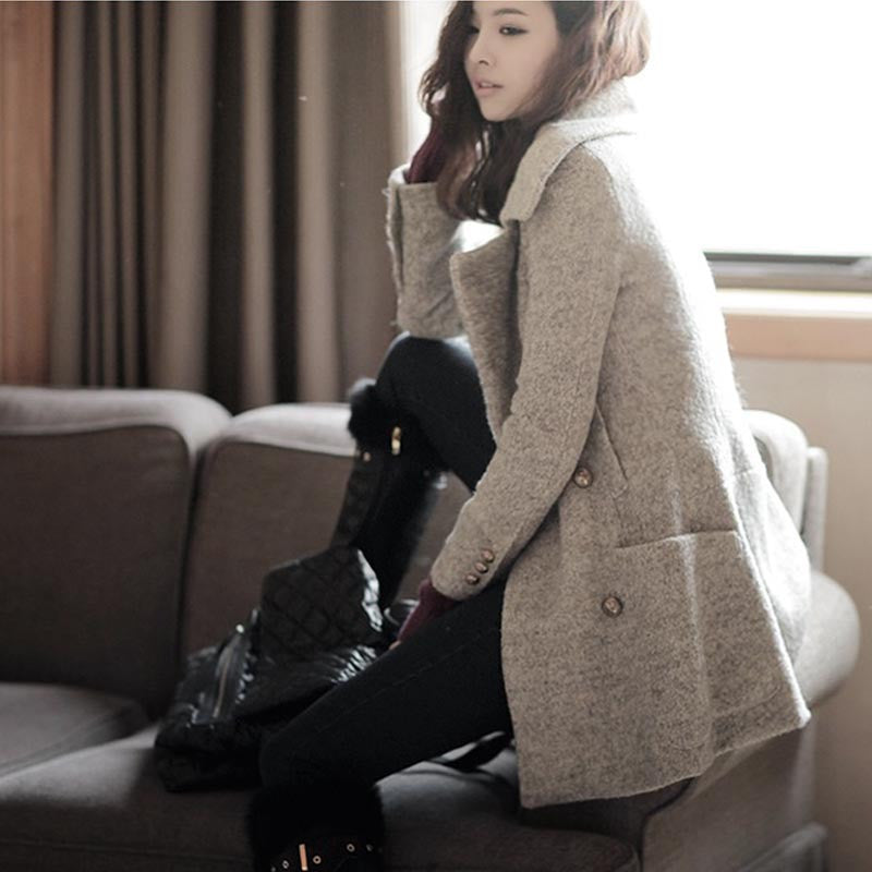 Double Breasted Lapel Slim Solid Long Coat - Oh Yours Fashion - 1