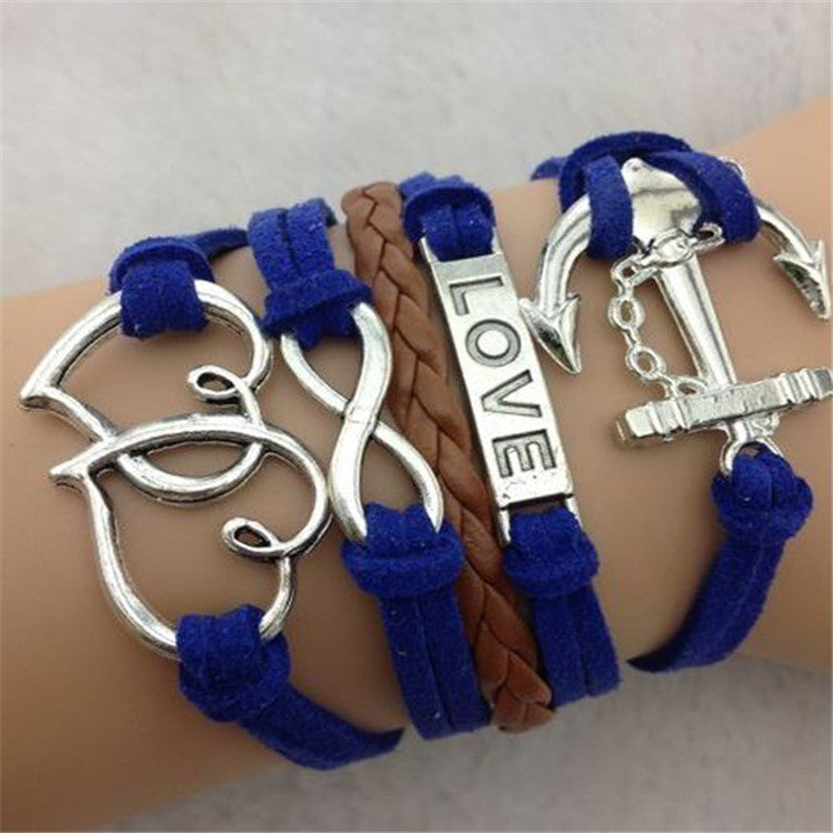 Love Heart Anchor Multilayer Woven Bracelet - Oh Yours Fashion