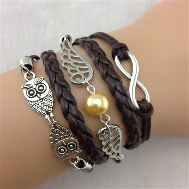 Black Owl Wings Fashion Multilayer Woven Bracelet - Oh Yours Fashion