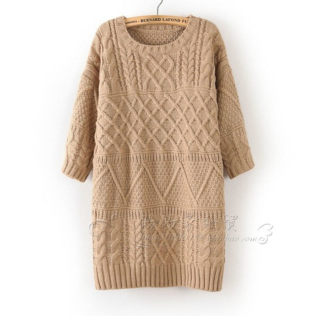 Diamond Cable Retro Knit Long Pullover Sweater - Oh Yours Fashion - 4