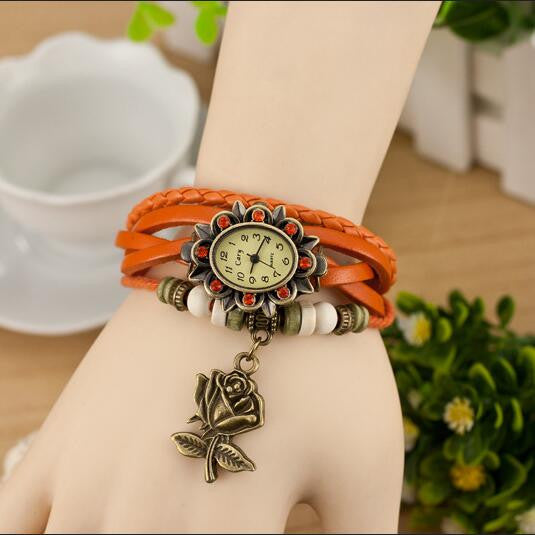 Retro Style Rose Pendant Multilayer Watch - Oh Yours Fashion - 6