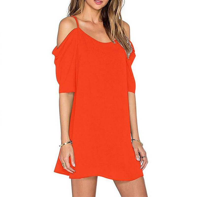 Spaghetti Strap Bear Shoulder Pure Color Loose Short Dress