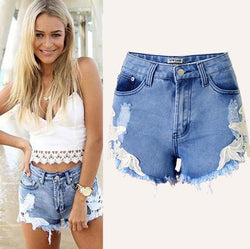 Bohemian Rough Edges Patchwork Hole High Waist Shorts - Meet Yours Fashion - 1