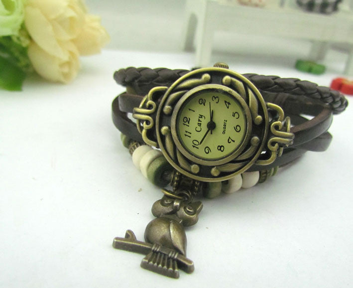 Retro Style Owl Pendant Woven Watch - Oh Yours Fashion - 8