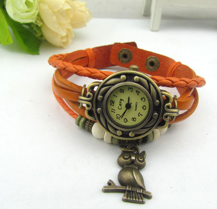 Retro Style Owl Pendant Woven Watch - Oh Yours Fashion - 4