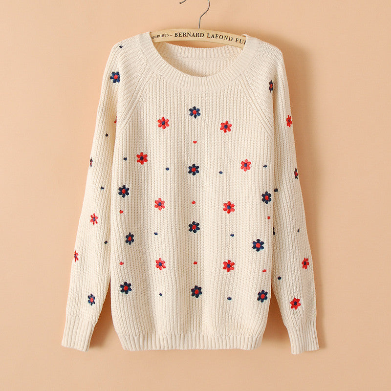 Flower Print Slim Embroidery Scoop Sweater - Oh Yours Fashion - 1