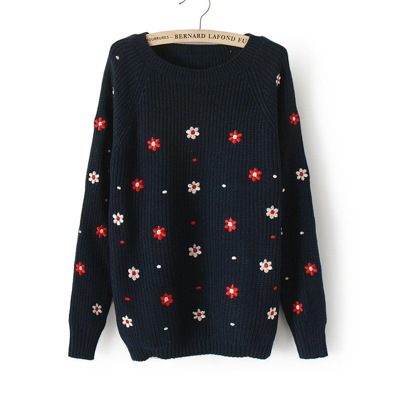 Flower Print Slim Embroidery Scoop Sweater - Oh Yours Fashion - 2