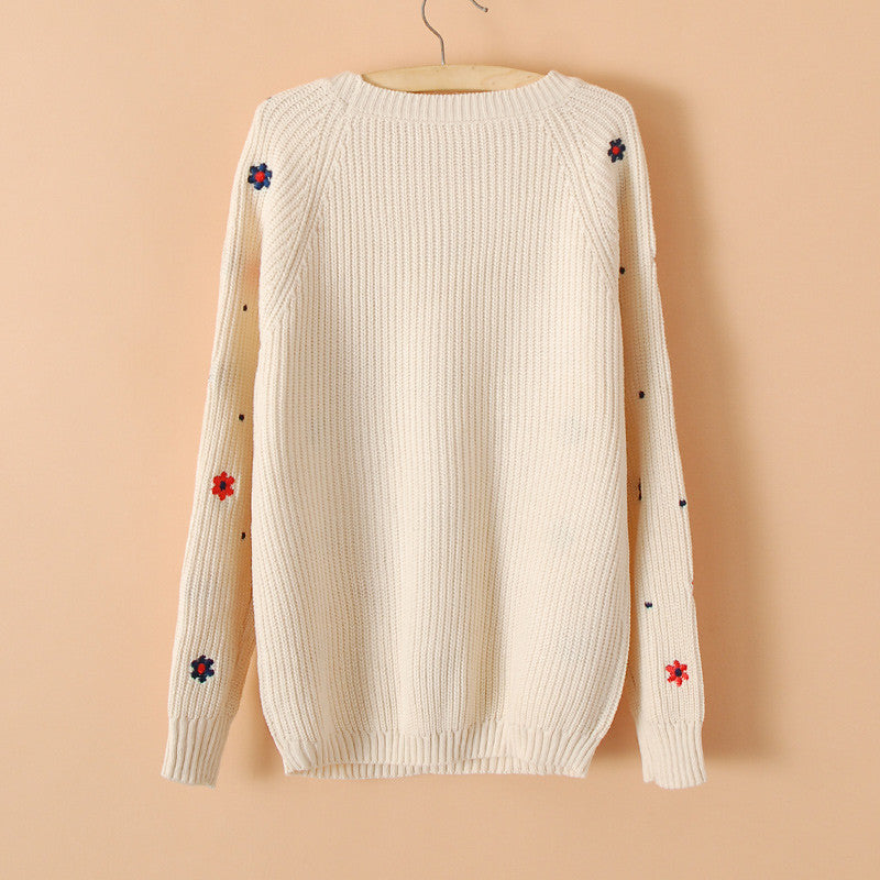 Flower Print Slim Embroidery Scoop Sweater - Oh Yours Fashion - 3