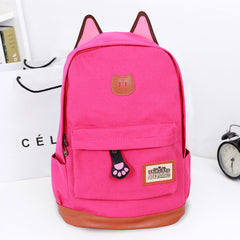 Cute Cat Ears Solid Color School Backpack Canvas Bag - Oh Yours Fashion - 8