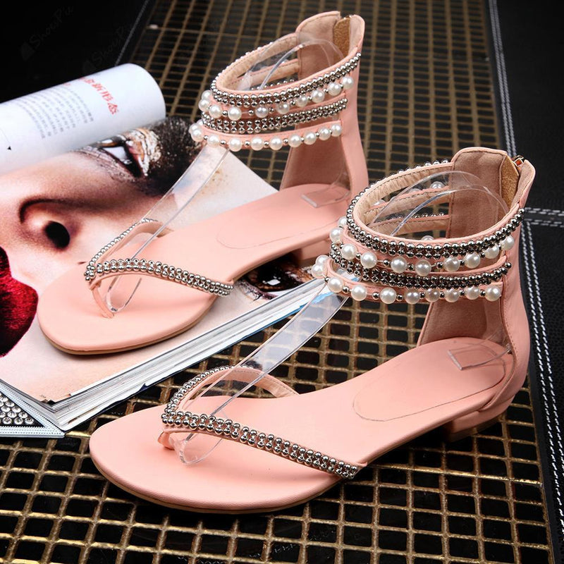 Beading Rhinestone Thong Women's Flat Flops Sandals - MeetYoursFashion - 8