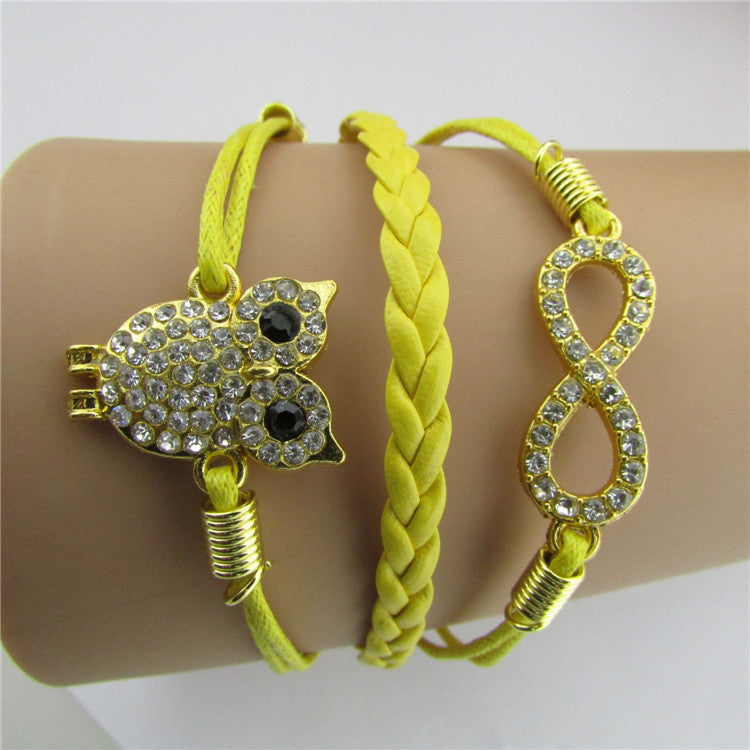 Luxury Crystal Owl 8 Fashion Leather Bracelet - Oh Yours Fashion - 1