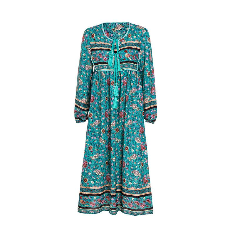 Bohemian V-neck Print Long Sleeves Tee Length Plus Size Dress