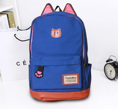 Cute Cat Ears Solid Color School Backpack Canvas Bag - Oh Yours Fashion - 5