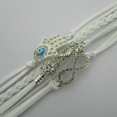 White Crystal Hand Leather Cord Bracelet - Oh Yours Fashion - 4