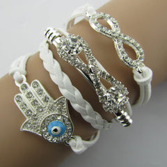 White Crystal Hand Leather Cord Bracelet - Oh Yours Fashion - 1