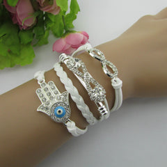 White Crystal Hand Leather Cord Bracelet - Oh Yours Fashion - 2