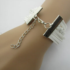 White Crystal Hand Leather Cord Bracelet - Oh Yours Fashion - 6