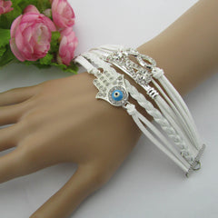 White Crystal Hand Leather Cord Bracelet - Oh Yours Fashion - 3