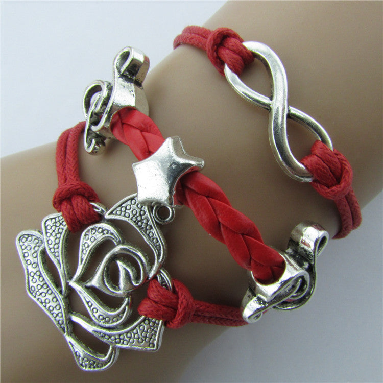 Roses Music Note Retro Leather Cord Bracelet - Oh Yours Fashion - 1