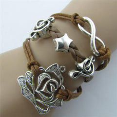 Roses Music Note Retro Leather Cord Bracelet - Oh Yours Fashion - 7