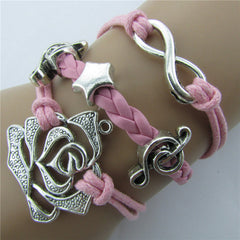 Roses Music Note Retro Leather Cord Bracelet - Oh Yours Fashion - 8