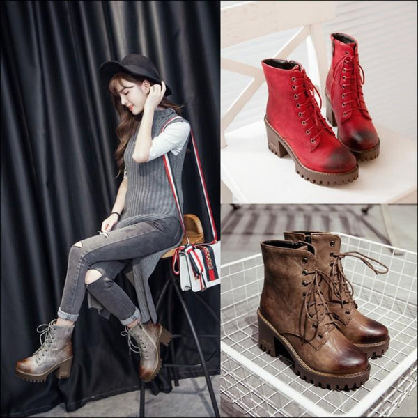 Brush Color Round Head Chunky Heel Martin Boots