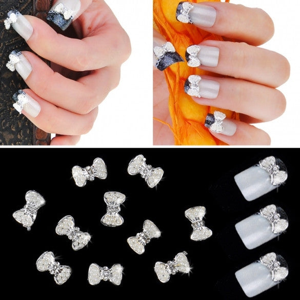 Silver Bowknot Nail Art Glitters Slices DIY Decoration Alloy Rhinestones 10pcs - Oh Yours Fashion
