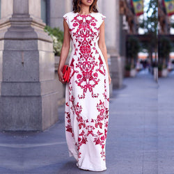 Scoop Print Sleeveless Slim Dress Long Dress - Oh Yours Fashion - 1