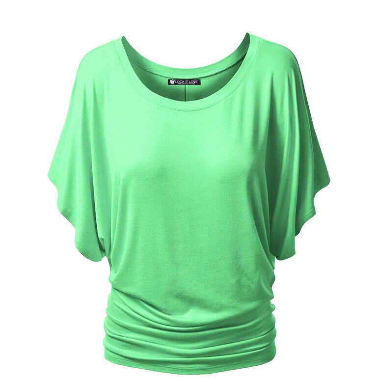 Scoop Pure Color Short Bat-wing Sleeves Loose T-shirt