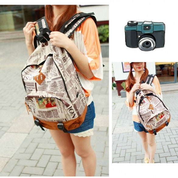 New Fashion Unisex Newspaper Design Print Backpack Schoolbag Shoulder Bag - Oh Yours Fashion - 1