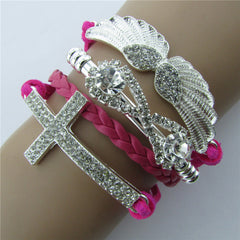 Retro Crystal Angel Wings Cross Leather Cord Bracelet - Oh Yours Fashion - 6