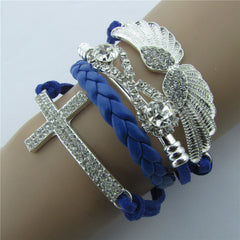 Retro Crystal Angel Wings Cross Leather Cord Bracelet - Oh Yours Fashion - 3