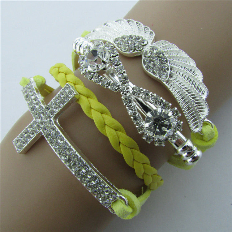Retro Crystal Angel Wings Cross Leather Cord Bracelet - Oh Yours Fashion - 1