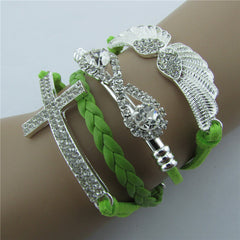 Retro Crystal Angel Wings Cross Leather Cord Bracelet - Oh Yours Fashion - 2