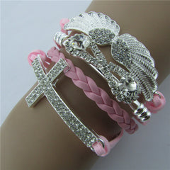 Retro Crystal Angel Wings Cross Leather Cord Bracelet - Oh Yours Fashion - 7