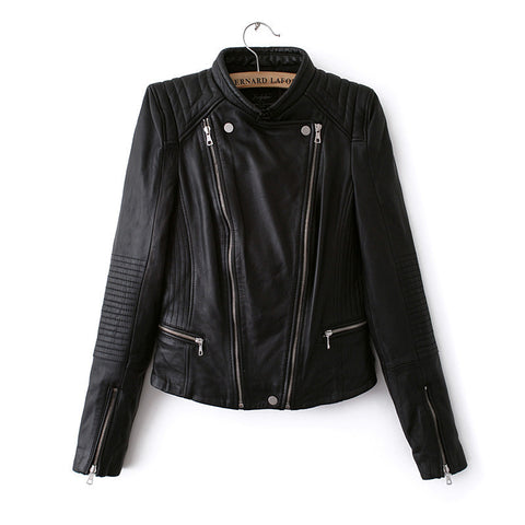 Double Zipper Stand Collar PU Crop Slim Jacket