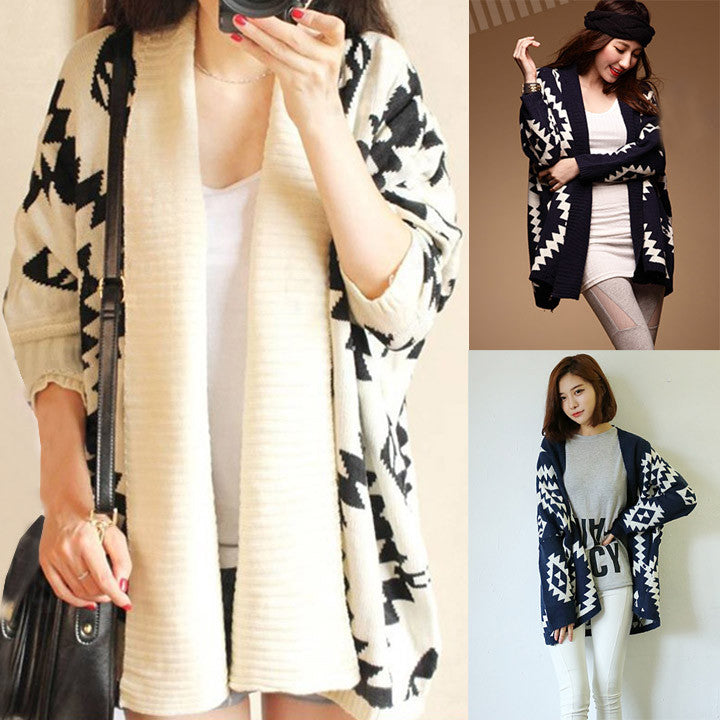 Geometric Pattern Open Loose Cape Cardigan - O Yours Fashion - 4