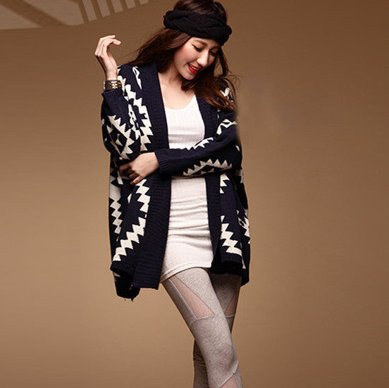 Geometric Pattern Open Loose Cape Cardigan - O Yours Fashion - 1