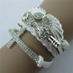 Retro Crystal Angel Wings Cross Leather Cord Bracelet - Oh Yours Fashion - 5