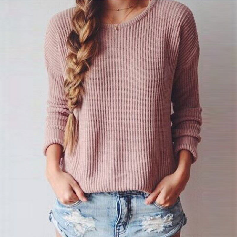 Long-Sleeved Round Collar Pure Color Loose Sweater - Oh Yours Fashion - 3