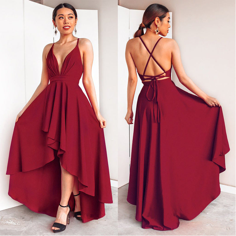 Pure Color Sexy V-neck Sleeveless Irregular Long Prom Blackless Dress