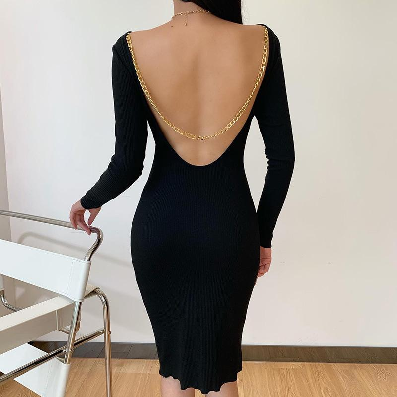 Sexy Metal Chain Long sleeve Blackless Bodycon Dress