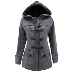 Button Pocket Long Warm Hooded Trench Coat - Meet Yours Fashion - 1