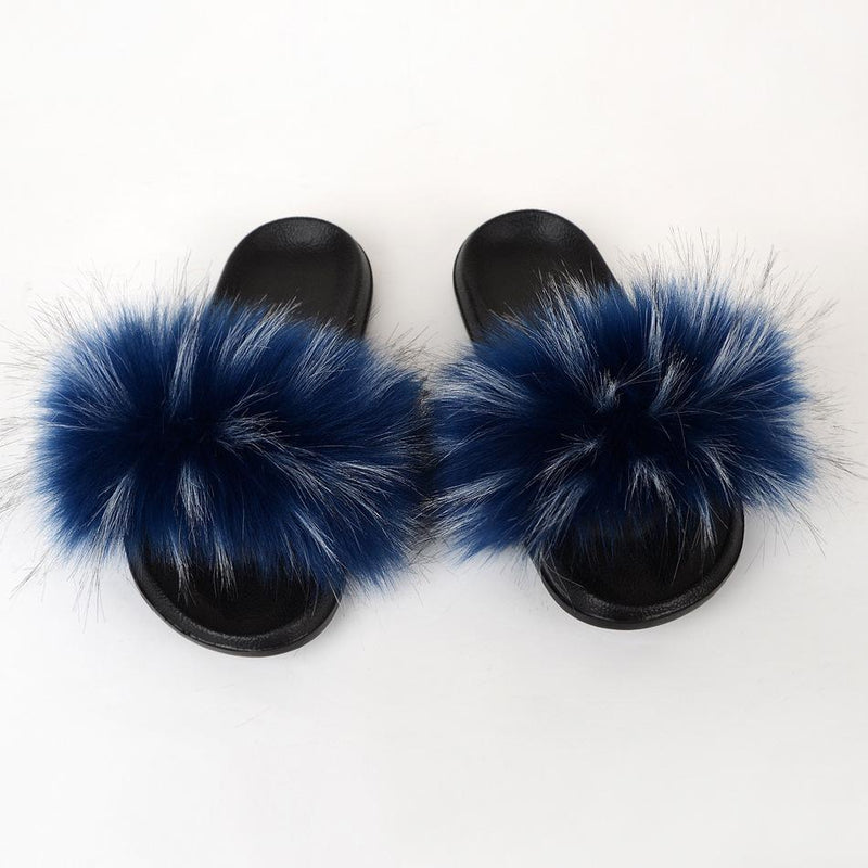 Raccoon dog hair imitation fox hair slippers women's hair sandals